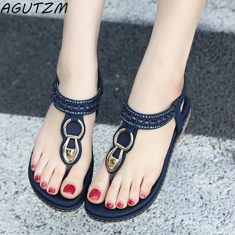 AGUTZM Fashion Leather Women Sandals Bohemian Diamond Slippers Woman Flats Flip Flops Shoes Summer Beach Sandals size10