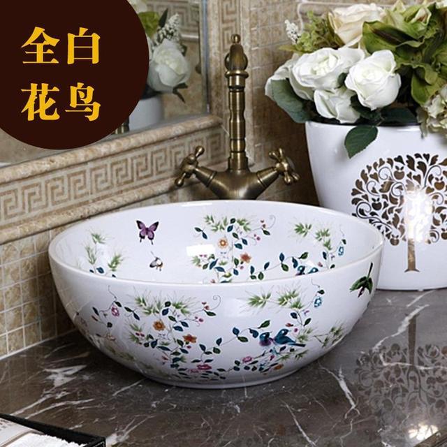 China Painting Bird And Flower Ceramic Sinks Counter Top Wash Basin  Vanities Bathroom Sink Vessel Wash