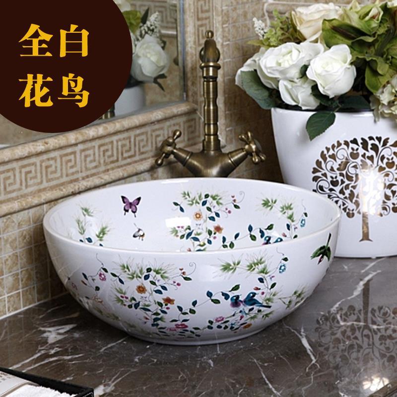 China Painting Bird And Flower Ceramic Sinks Counter Top Wash Basin  Vanities Bathroom Sink Vessel Wash Basin Ceramic Bowl