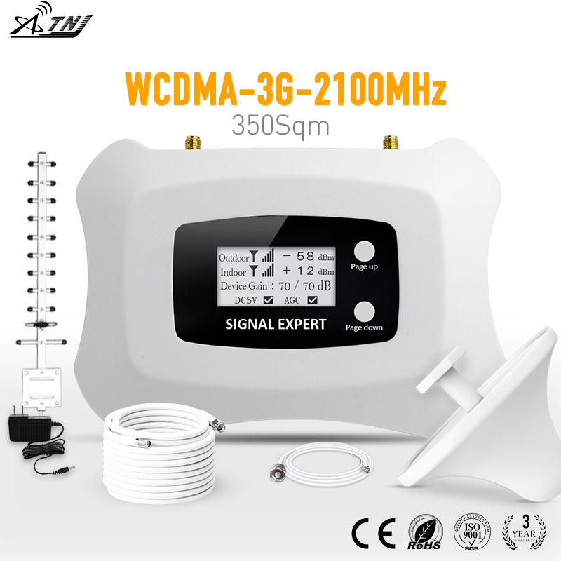 3g Signal repeater WCDMA 2100 mhz Handy Signal Booster Cellular signal ampllifier kit mit Yagi + Decke antenne für heimgebrauch