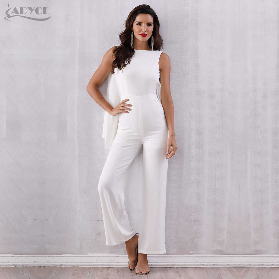 ad394c13c949 ... ADYCE 2019 Women Celebrity Runway Jumpsuits White Halter Batwing Sleeve  Backless Rompers Women Jumpsuit Sexy Bodycon ...