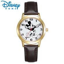 Original Da Disney Mickey Mouse Mulheres Relógios Homens Unisex de Prata de Ouro de Couro Marrom Clássico Movendo As Mãos Enluvadas Relógio Senhoras Relógios