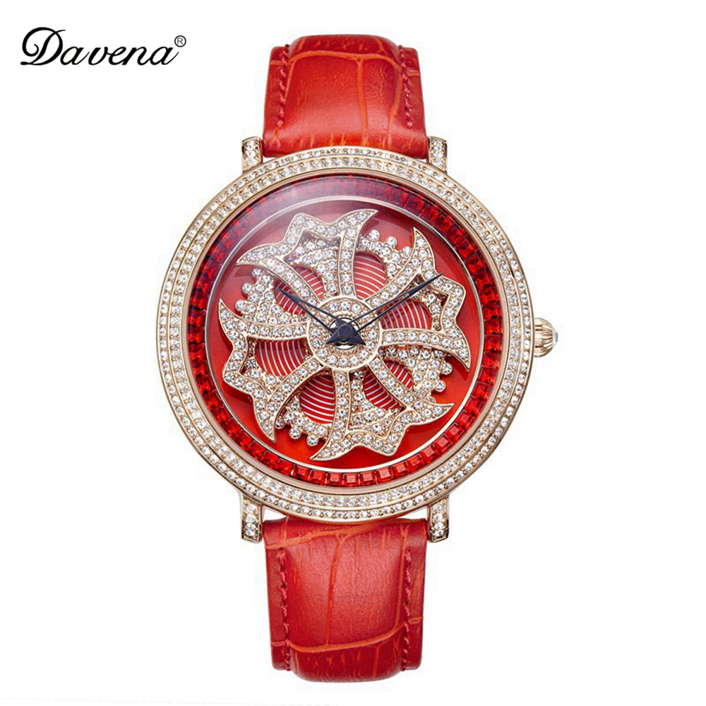 Ladies Luxury Bling Rhinestone Genuine Leather Rotate Flower Watches Women Quartz Watch Waterproof Best Quality Gift