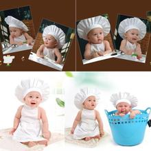 kids Costumes Cotton Blended photo photography Chef White Cook Costume Photos Photography Prop Newborn Hat Apron 0~12 M(China)