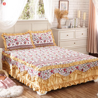Korean bed skirt set thicken bed cover sheets bed 100% cotton quilted lace bedspread pastoral flower lace bed sheet 3pcs king