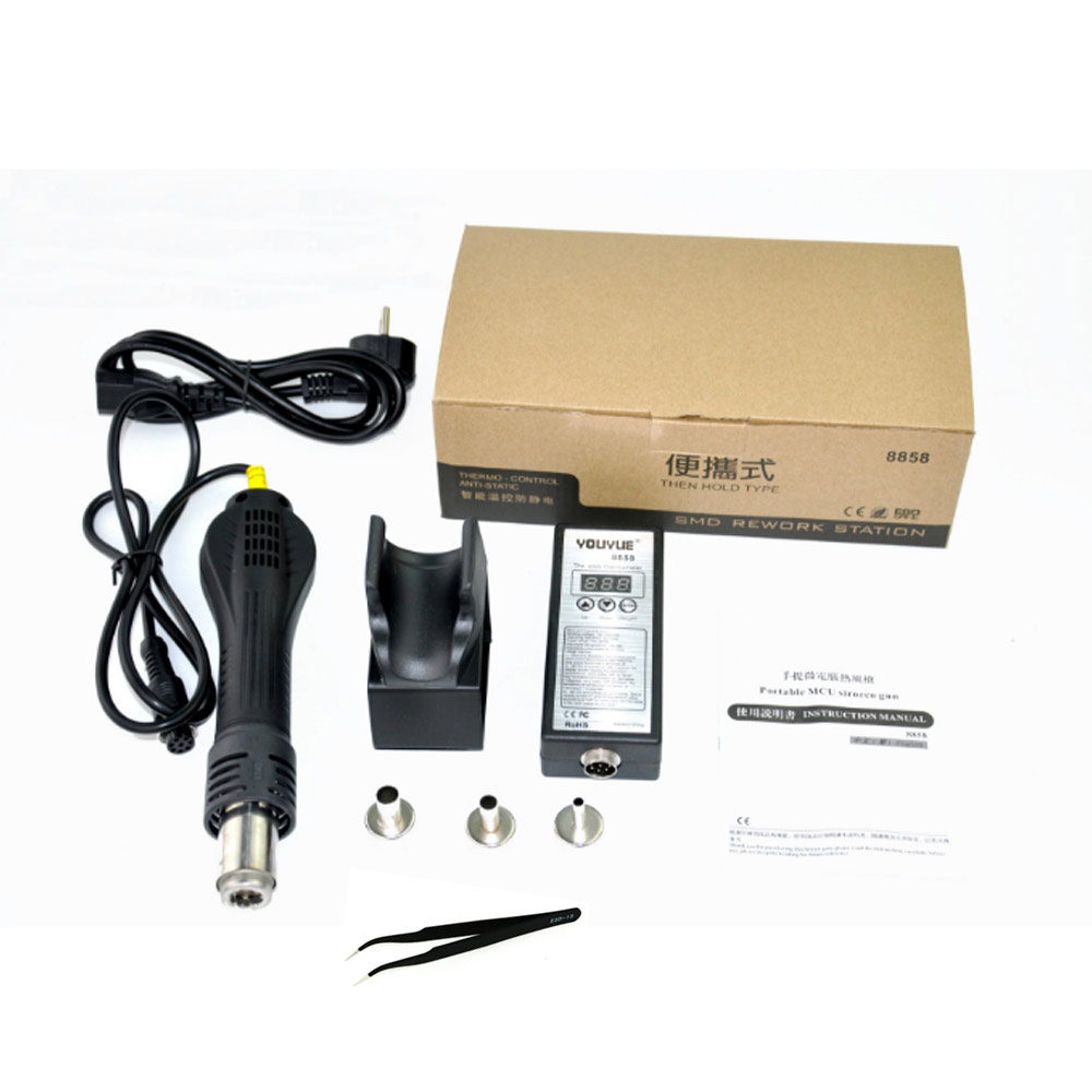 YOUYUE 8858 110V/220V Portable BGA Rework Solder Station Hot Air Blower Heat Gun Better Saike 8858 with 3 nozzles tweezers 8858 110v 220v portable bga rework solder station hot air blower heat gun better saike 8858