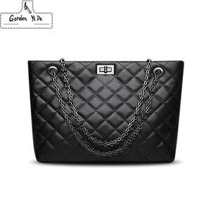 Image 1 - Luxury Brand Plaid Crossbody bags for women 2020 Large Female Handbags Designer Black Leather Messenger Tote Women shoulder bag