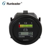 Runleader BI004 LED Battery Percentage Gauge Battery Hour Meter 12V 24V 36V 48V 72V Meter For
