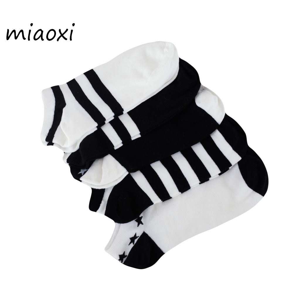 miaoxi 5 Pairs New Casual Summer Men Stripe Sock High Quality Fashion Cotton Blending White Comfortable Boat Short Sock For Man