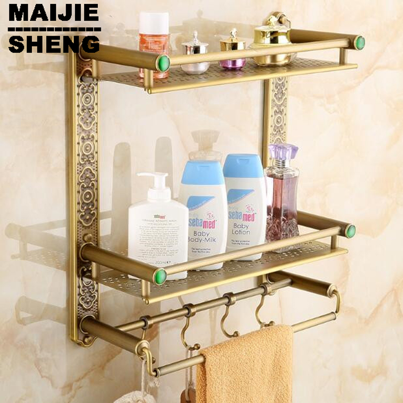 bathroom shelf with hooks basket for bathroom holder Bathroom antique double brass bathroom shelf with green stone towel holder купить