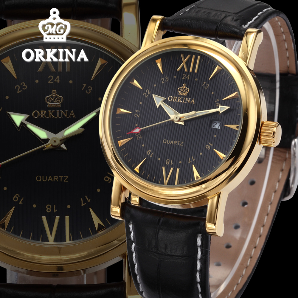 Orkina Luxury Gold Watch Men Business Quartz Auto Date Black Leather Mens Dress Fashion Wrist Watches Relogio Masculino Dourado