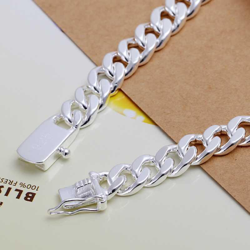 סטרלינג 925 תכשיטי כסף 10mm רחב הרבה זמן צמיד תג לגברים בסדר אופנה צמיד איכותי סיטוני וקמעוני SMTH182
