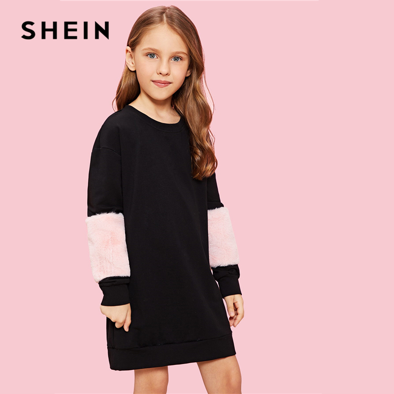 SHEIN Girls Black Faux Fur Panel Sweatshirt Casual Dress Children Dresses 2019 Spring Korean Long Sleeve Colorblock Girls Dress lantern sleeve patch sweatshirt