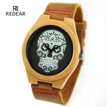 Redear New Skull Collection Natural Wood Watches Men Leather Lovers Luxury Wristwatch Women Bamboo Wood Watch as Gifts