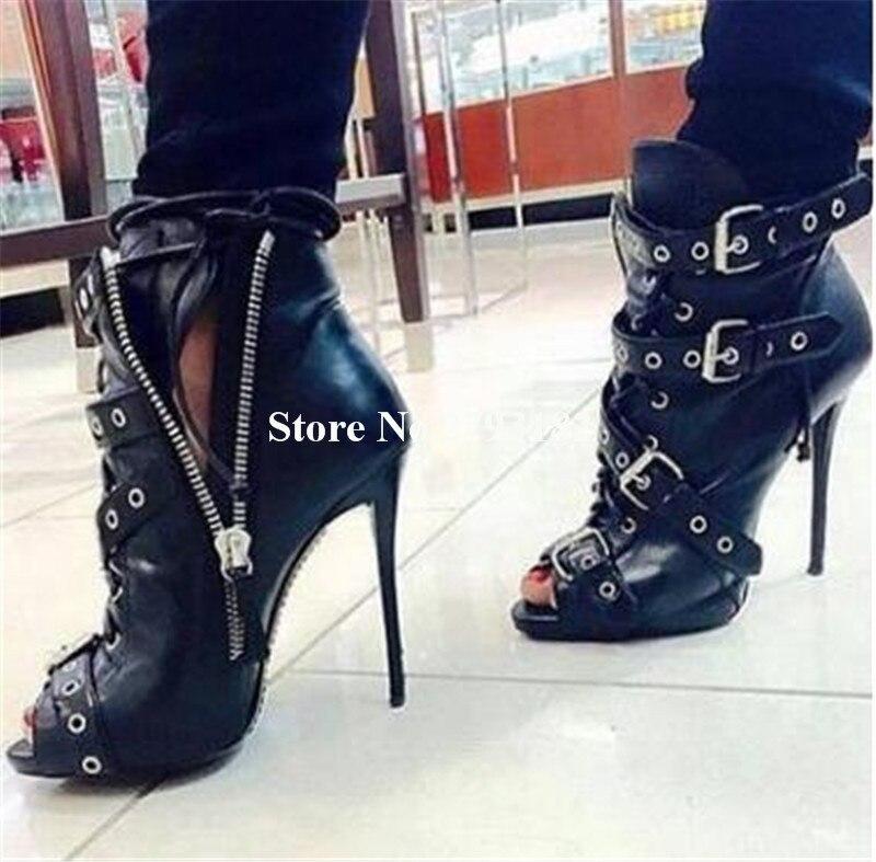 Mince Marque Boucles Talons Peep En Courtes Chaussures Bottes up Éclair Fermeture Femmes Toe À Bottines Métal Cuir Club Noir Style Hauts Talon 6wT8r6
