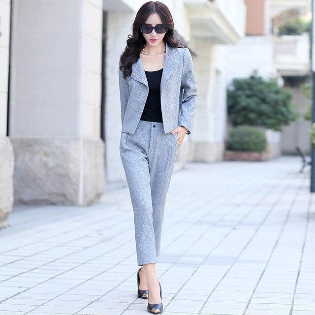 c810ea20a New 2015 Autumn Women s Pant Suits Fashion Long Sleeve Short Women ...