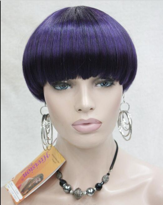 Hot Sell !  Excellent Mushroom head Black Purple Mix Short Straight Bangs Women wig