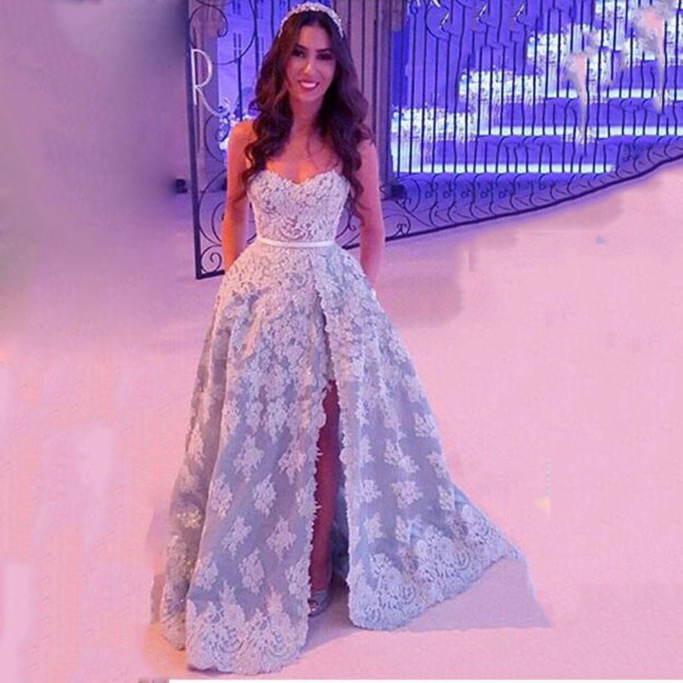 b9de1fe9427 Lebanon Designer White and Blue Prom Dress with Split Elegant Lace  Sweetheart Long A Line Party Dresses for Women MP31-in Prom Dresses from  Weddings ...