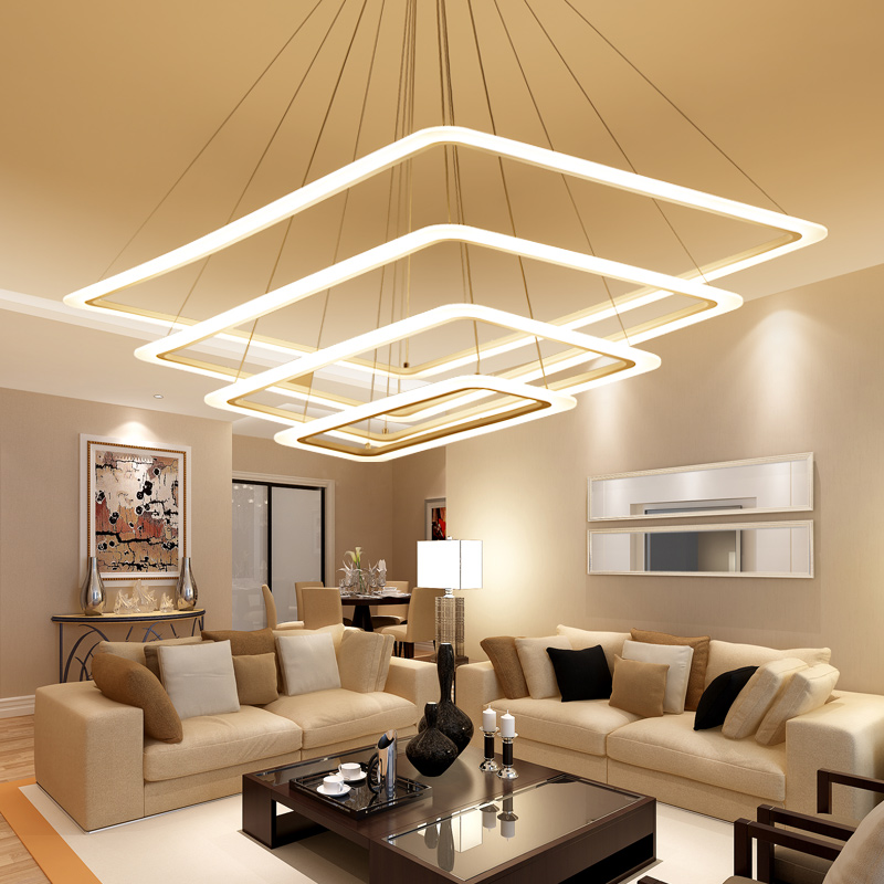 Modern 4 square rings LED Pendant Lights acrylic+metal suspension hanging ceiling lamp for For Living Room Dining room light modern led pendant lights for dining living room hanging circel rings acrylic suspension luminaire pendant lamp lighting lampen