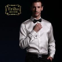 Shirt luxury heavy silk mulberry silk elastic satin french cuff formal dress white male shirt