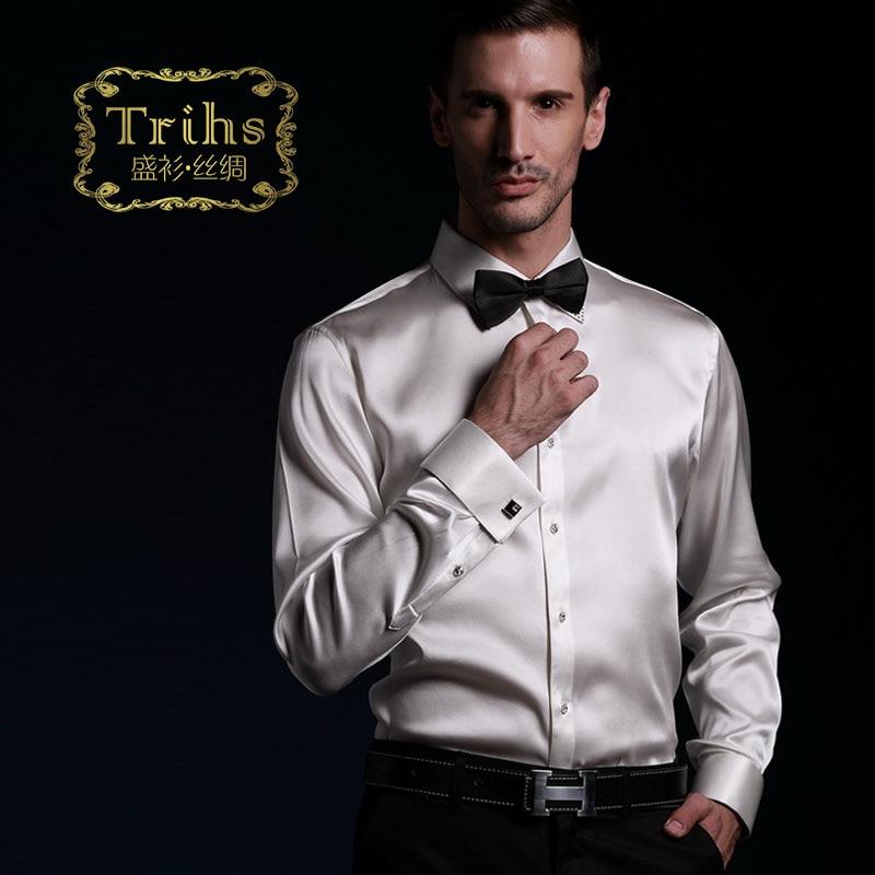 Shirt luxury heavy silk mulberry silk elastic satin french for Tuxedo shirt french cuff