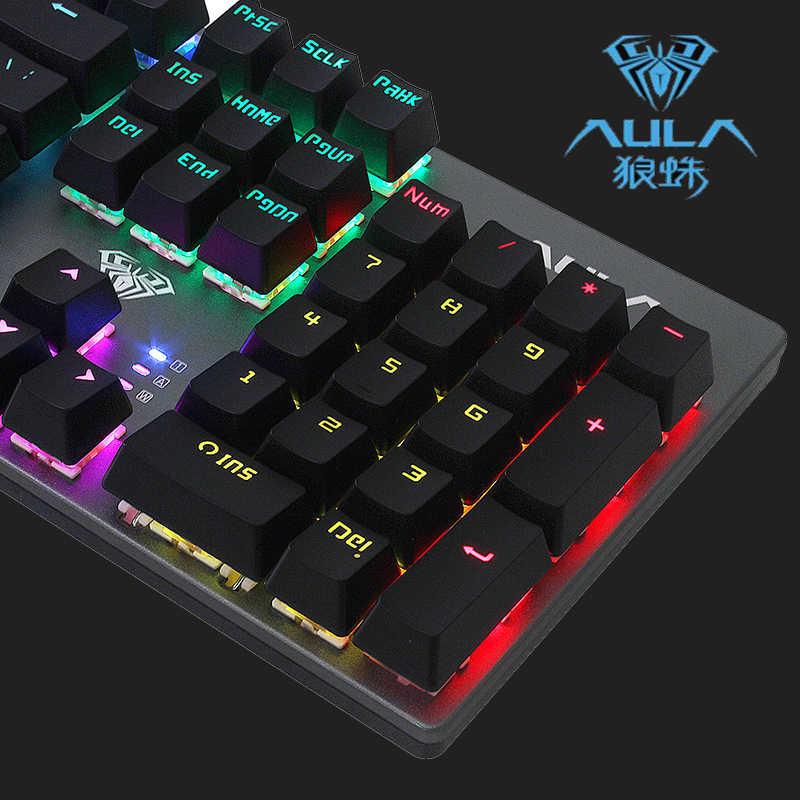 Aula Hitam/Biru/Merah Switch LED Lampu Latar Pro Gaming Keyboard USB Wired Gaming Keyboard Mekanik Bahasa Rusia Ibrani Arab
