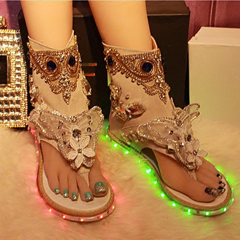 New Arrivals Summer Colorful LED Light Sandals Women Wedged Sandals Med Heels High Top Leather Sandals Crystal Sandals Shoes