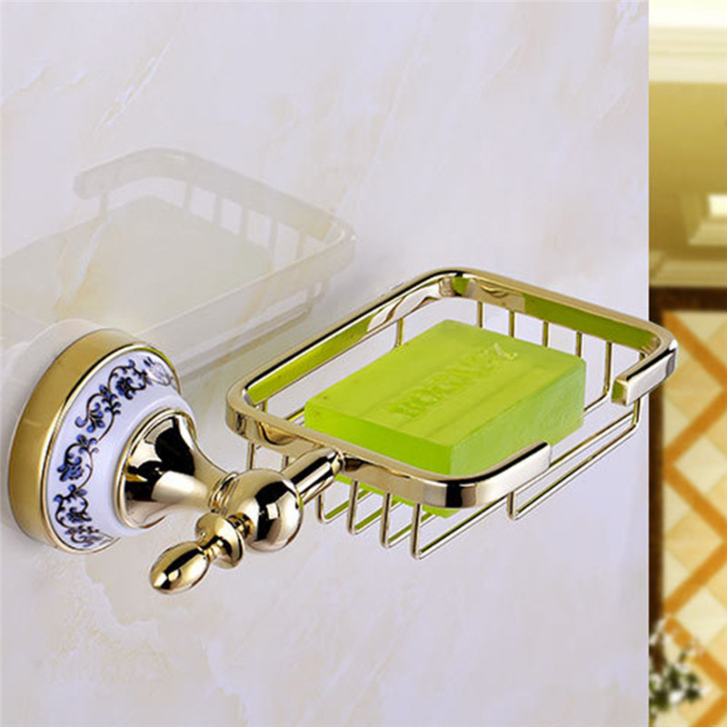 Image 3 - LeKing Antique Brass Ceramic Soap Holder Copper Soap Dishes Soap Basket Bathroom Accessories Bathroom Furniture Toilet Vanity-in Soap Dishes from Home Improvement on AliExpress