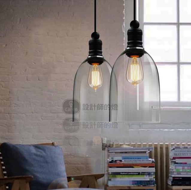 Modern Crystal Bell Glass Pendant Lights Vintage Industrial Lighting Edison Bulb Droplight Home Luminaire
