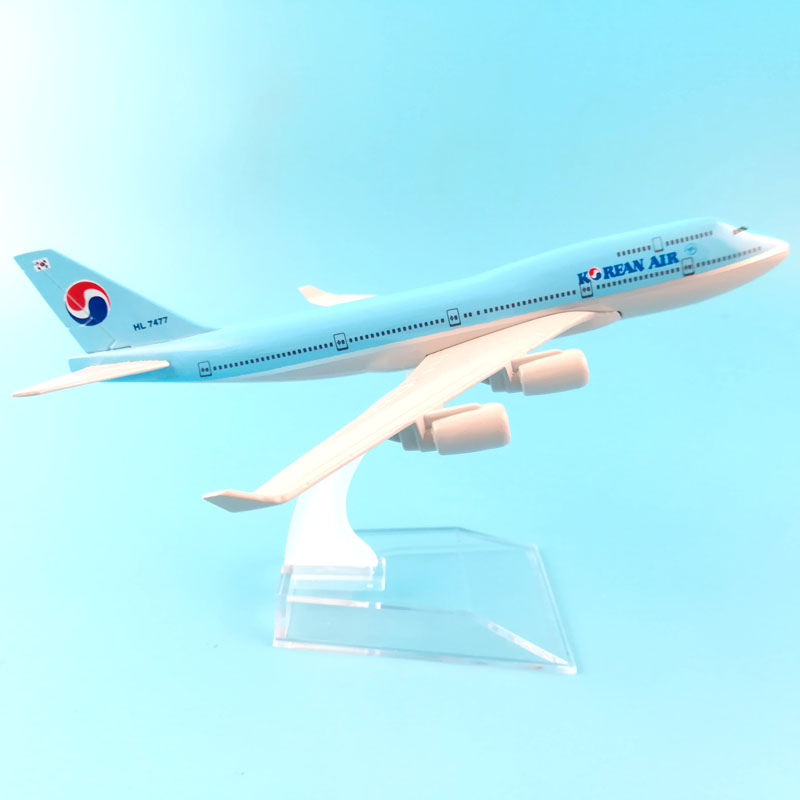 16CM KOREAN AIR 747 METAL ALLOY <font><b>MODEL</b></font> PLANE <font><b>AIRCRAFT</b></font> <font><b>MODEL</b></font> TOYS AIRPLANE COLLECTION GIFT CHILDREN TOYS image
