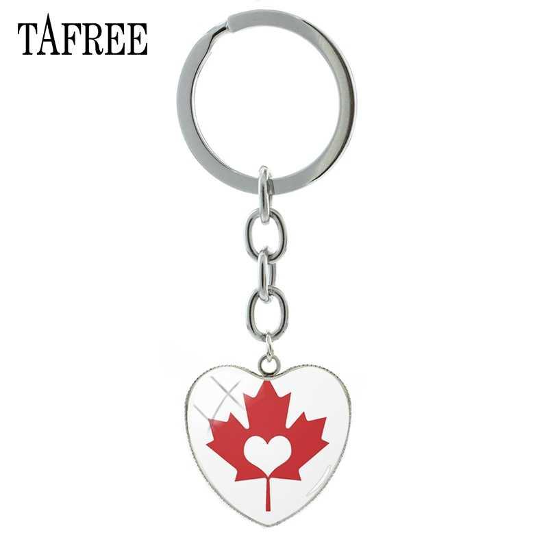 TAFREE Cổ Điển Sycamore Maple Mùa Thu Lá mặt dây chuyền trái tim keychain phụ nữ Cây đồ trang sức thời trang lá Rụng key chain vòng QF415