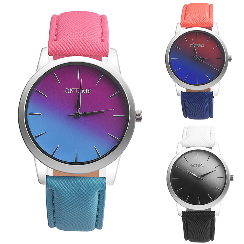 Retro Rainbow Design Leather Band Analog Alloy Quartz Wrist Watch #4A20#F