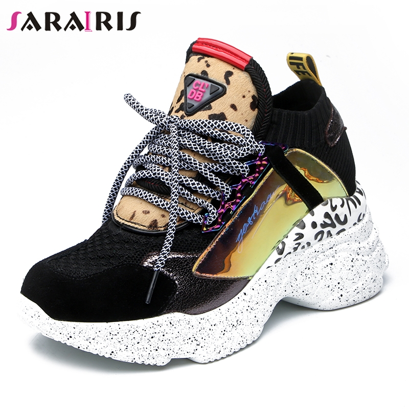 SARAIRIS 2019 New Spring Genuine   Leather     Suede   Sneakers Female Lace Up Horsehair Decoration Casual Shoes For Ladies Shoes Woman