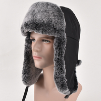 عالية الجودة رجالي 100% ريال ريكس الأرنب الفراء القبعات الشتوية لى فنغ قبعة مع اللوحات الأذن قبعات الثلج الدافئ قبعة منفذها الروسية كاب
