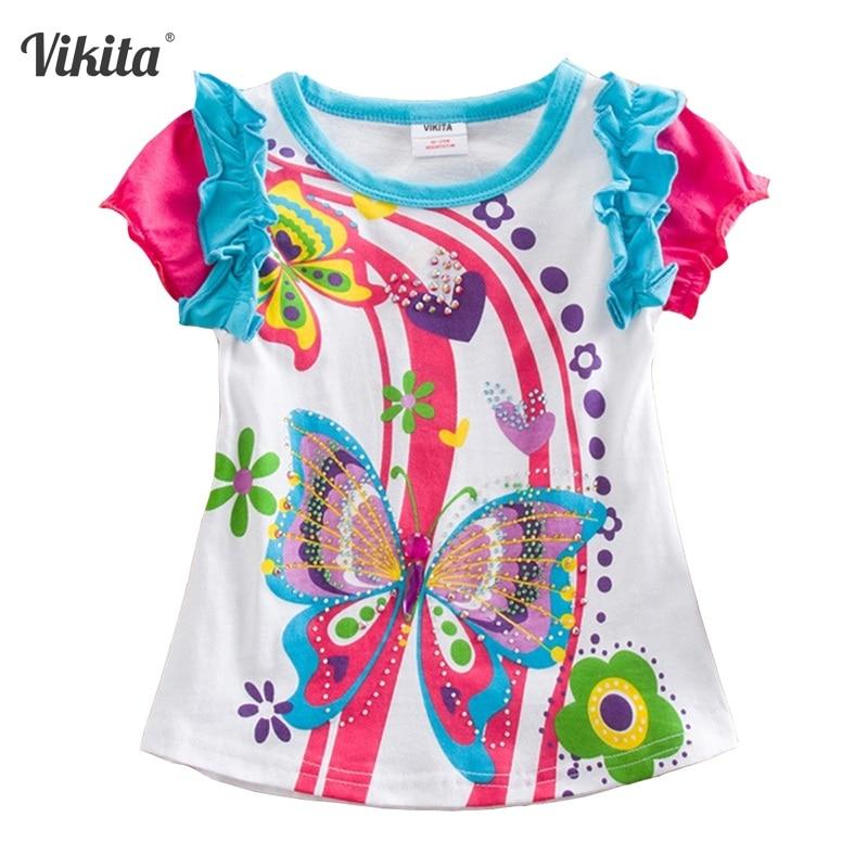 VIKITA Dziewczęcy T Koszula dziecięca T-shirt Dziecięca odzież Motylowa T-shirt z krótkim rękawem Sowa Dziecięce T-shirty Topy dla Dziewczyn S3916 MIX