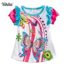 VIKITA Girls T Shirt Kid T-shirt Children Clothing Butterfly Short Sleeve T-shirt Owl Children T-shirts Tops for Girls S3916 MIX