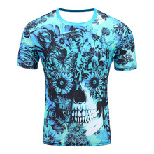 Blue flower skeleton 2017 New men 's T – shirt 3D short – sleeved cotton fashion casual round neck printing