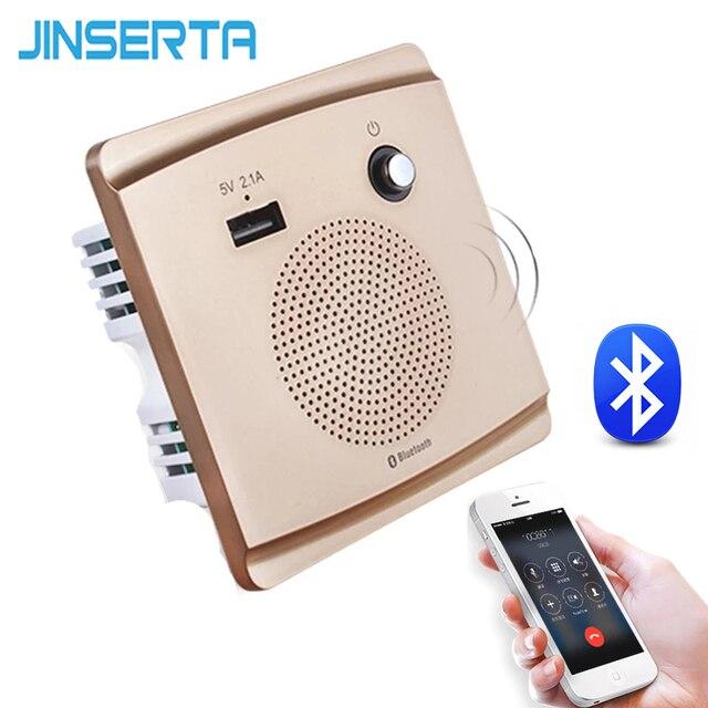 JINSERTA Bluetooth Speaker Smart Socket Mount HiFi Music Player Handfree 110 230V&5V 2.1A USB Charging Port