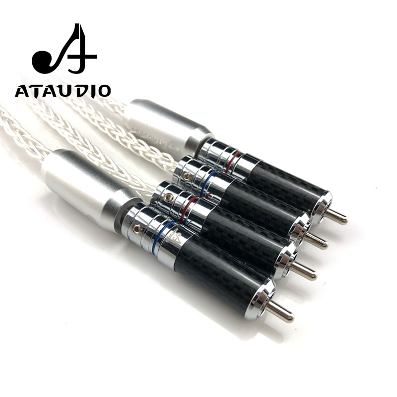 ATAUDIO 7N OCC Silver plated Hifi RCA Cable Hi end 2RCA Male to Male Audio Cable 1m 2m 3m    3