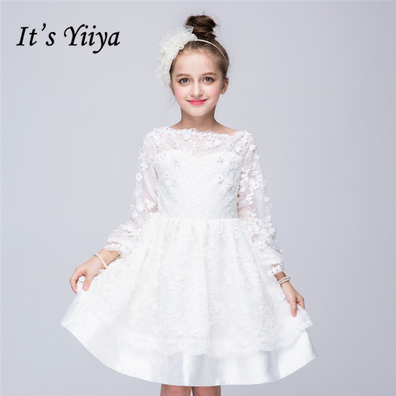 It's yiiya New Whire Long Sleeve   Flower     Girl     Dresses   O-neck Princess Ball Grown Lace   Girls     Dress   705