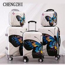 """CHENGZHI 1"""" 20"""" 2"""" дюймов Мода бабочка Сумки на колёсиках наборы Спиннер чемодан колеса носить на дорожные сумки"""