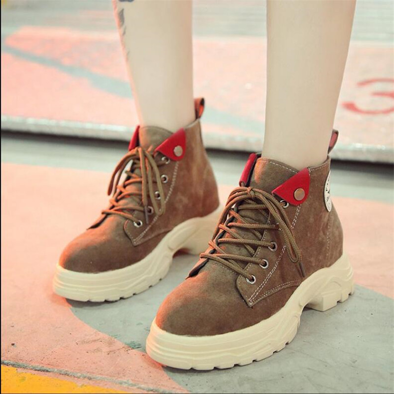 QIUBOSS Winter women boots round head with low tube muffin bottom with Suede Martin boots Casual Warm slip wear women shoes Q688 40
