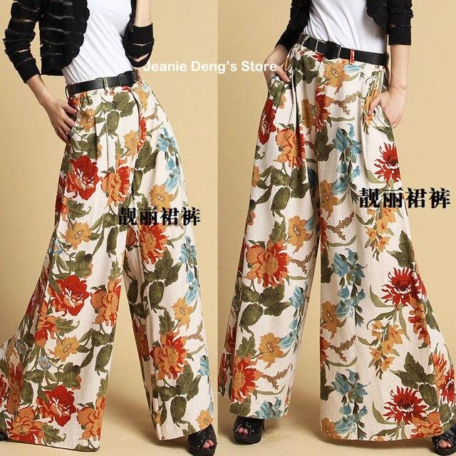 de patrón sueltas verano mujer primavera Floral vestir la pantalones ancho de 2016 pierna para bohemio 6Yqp4xW4w7