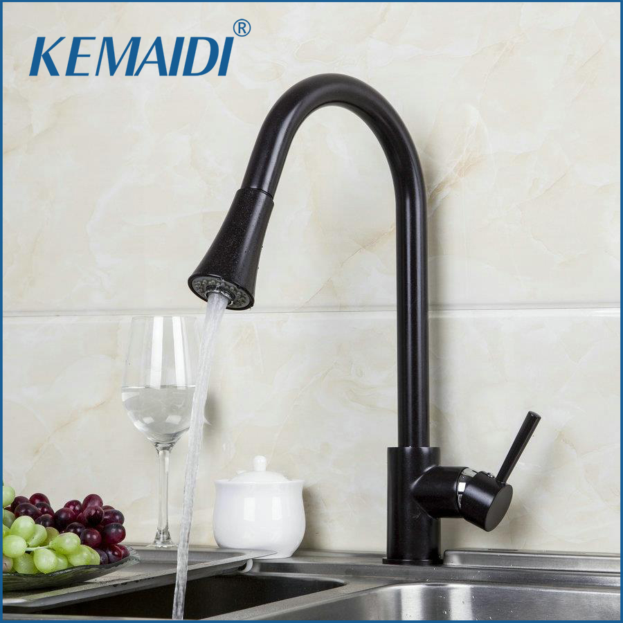 KEMAIDI Kitchen Sink Swivel Pull out Faucet New Oil Rubbed Bronze Faucet torneira da cozinha 92284 Vessel Sink Mixer Tap allen roth brinkley handsome oil rubbed bronze metal toothbrush holder