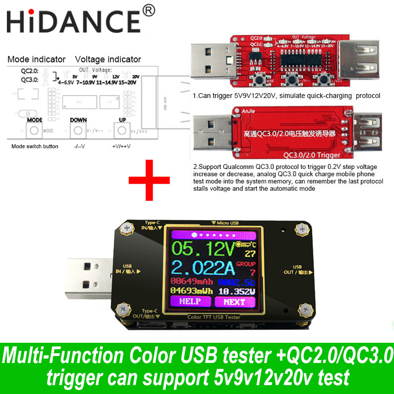 USB Type-c Tester Wireless Bluetooth DC Digital Voltmeter Current Voltage Meter Detector Monitoring Qualcomm Charger QC2.0 3.0