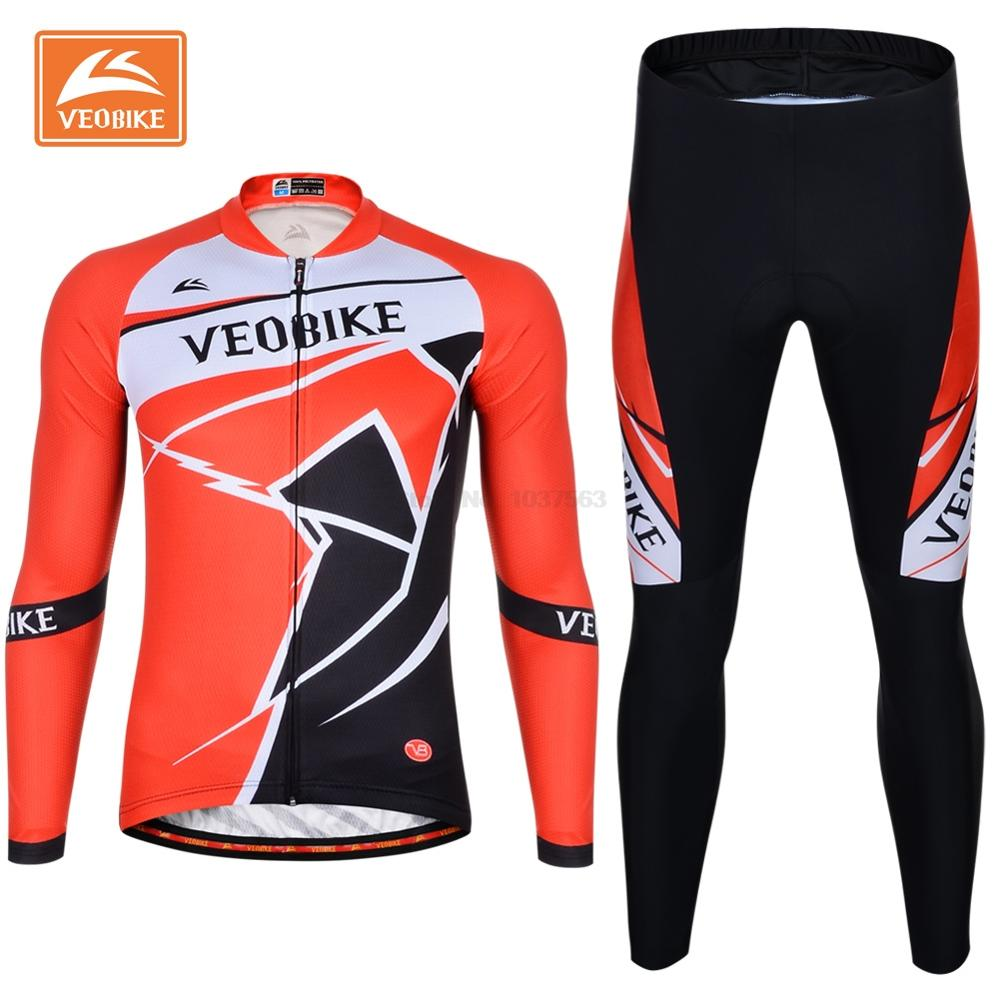 VEOBIKE Pro Bike Clothing Men Long Sleeve Cycling Jersey Set Ropa Ciclismo Breathable Quick Dry Bicycle Jersey Pants 4D Gel Pad teleyi team cycling outfits mens ropa ciclismo long sleeve jersey bib pants kits bicycle jacket trousers set red black