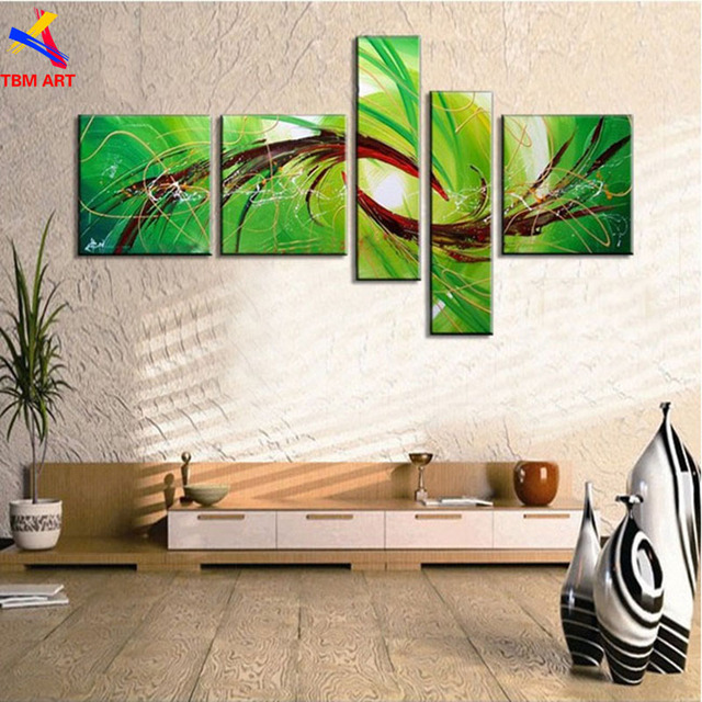 TBM ART Green Color Hand painted Abstract Oil Painting on Canvas Wall Art Gift No Frame for Living Room Decoration Z067