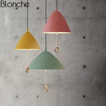 Restaurant Pendant Lights Nordic Hanging Lamp for Home Dining Room Kitchen Macaron Aluminum Led Light Fixtures Pull Ring Switch
