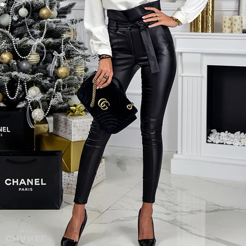 InstaHot Gold Black Belt High Waist Pencil Pant Women Faux Leather PU Sashes Long Trousers Casual Sexy Exclusive Design Fashion 12