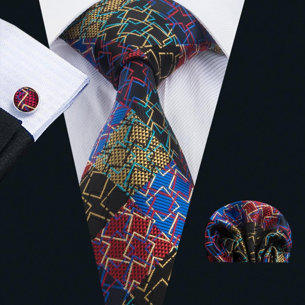 LS-1737 Barry.Wang 2017 Mens Tie 100% Silk Gravata Novelty Necktie Hanky Cufflink Set For Wedding Business Party Free Shipping